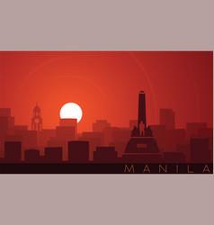 Manila low sun skyline scene vector