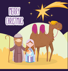 Mary joseph and bajesus with camel star desert vector