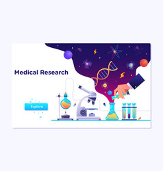 medical laboratory research with science glass est vector image