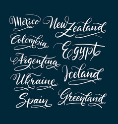 mexico and new zealand hand written typography vector image