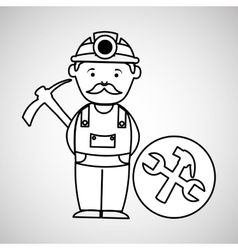 Mine worker pickaxe with tools vector