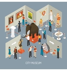 Museum Exhibition Isometric Composition Poster vector