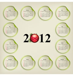 New years calendar weeks are located on round stic vector