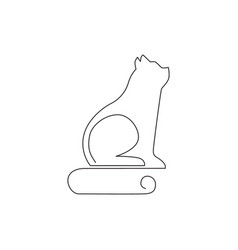 one single line drawing simple cute cat kitten vector image