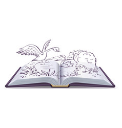 open book fairy tale of ugly duckling vector image