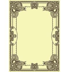 Original floral vintage frame vector