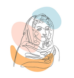 outline portpait woman vector image