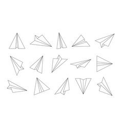 paper plane outline airplane icons sketch origami vector image