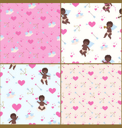 Patternes for valentines day with african cupid vector