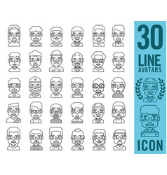 people icons with faces vector image