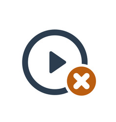 Play button icon with cancel sign vector