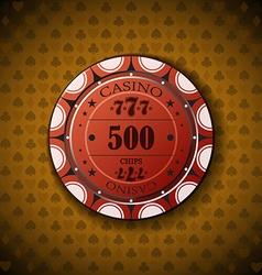 Poker chip nominal five hundred on card symbol vector