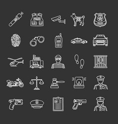police chalk icons set vector image