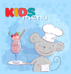 poster cute mouse and fruit cocktail cartoon vector image