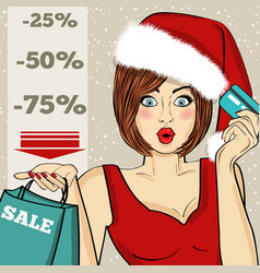 poster with pop art santa girl vector image
