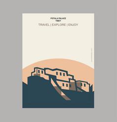 Potala palace tibet vintage style landmark poster vector