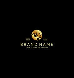Premium luxury gold mountain logo design vector
