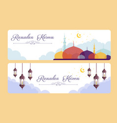 ramadhan kareem banners with mosque background vector image