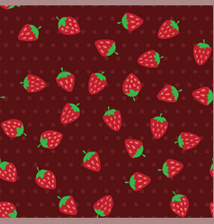 Red and ripe strawberries seamless pattern vector