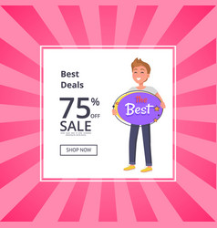 sale 75 percent off poster with smiling man vector image