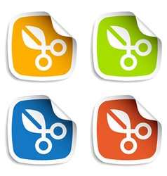 scissors stickers vector image