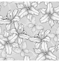 seamless background with lilies and butterflies vector image