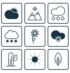 set of 9 harmony icons includes snowstorm tree vector image