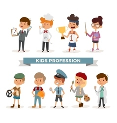 Set of cute cartoon professions kids vector image