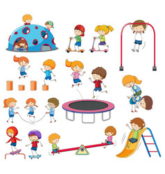 set of doodle kids playing vector image
