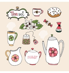 Set of tea service icons vector