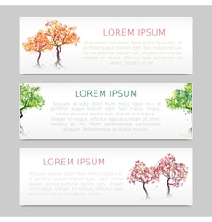 Set of three banners with abstract trees vector image
