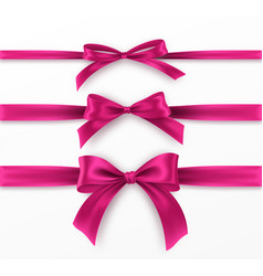 set pink bow and ribbon on white background vector image