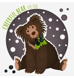 Shaggy bear with black currants in the teeth vector