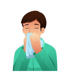 Sick man blowing his nose on a tissue vector