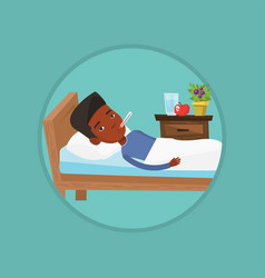 Sick man with thermometer laying in bed vector