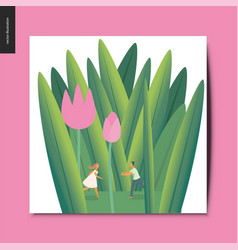 simple things - couple in tulips vector image