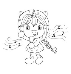 singing unicorn girl with microphone coloring vector image