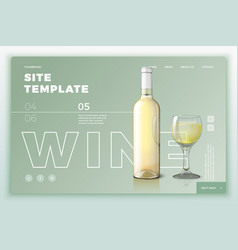 site template with wine bottle and glass vector image