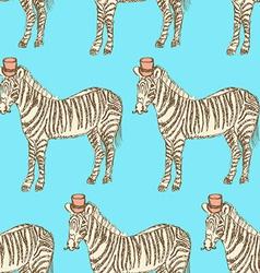 Sketch fancy zebra in vintage style vector