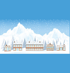 ski resort with mountains and house in the snowy vector image