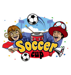soccer cup event design vector image