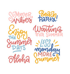 summer hand drawn calligraphic text elements set vector image