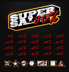 super sale tag builder kit typography in sport vector image
