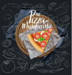 The pizza margherita slice with background vector