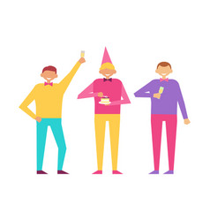 three men celebrate birthday party together set vector image