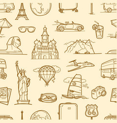 travel destination linear style seamless pattern vector image