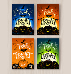 Trick or treat halloween postcards designs vector