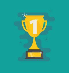 trophy first place number one flat icon vector image