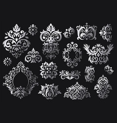 Vintage baroque ornament ornate floral sprigs vector