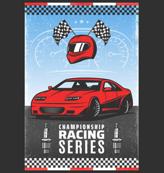Vintage colored sport car racing poster vector